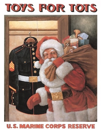 Toys for Tots poster with Santa holding a bag of toys in front of a closet with a U.S. Marine Corps uniform hanging